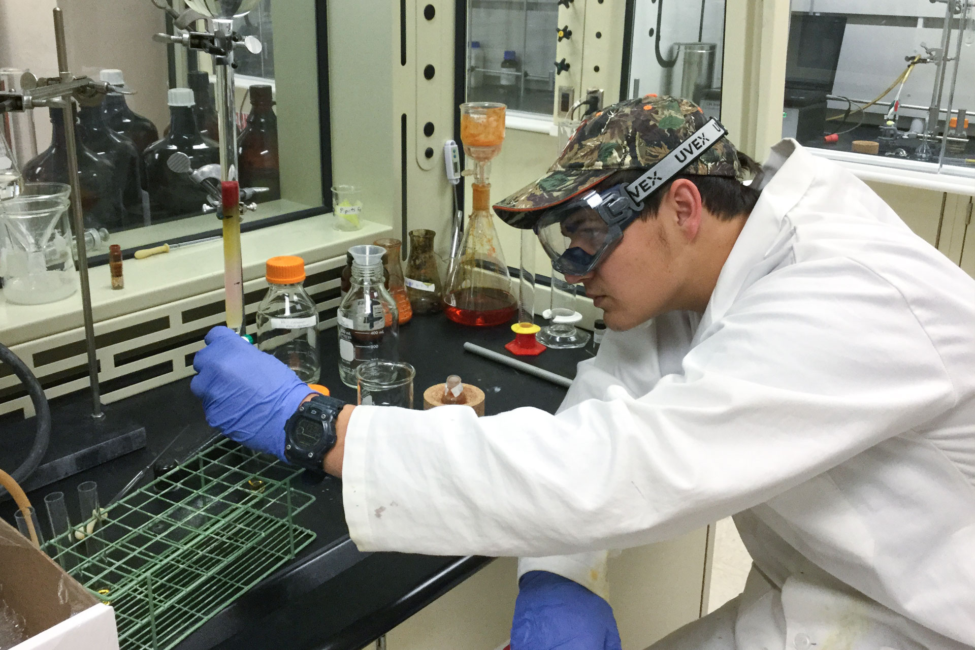 Image of Carroll Chemistry student Nate Burman who has received funding to conduct research.