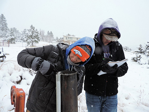 Hydrogeology Students working in a snowy field