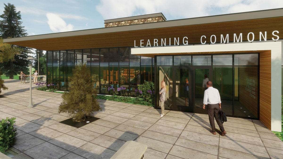 Graphic of the Jack and Sallie Corette Library and Simperman Learning Commons.
