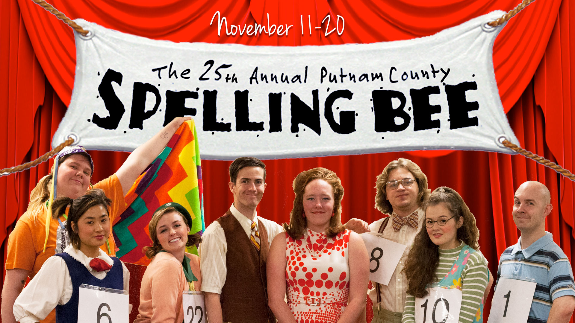 Graphic Featuring the Cast of The 25th Annual Putnam County Spelling Bee