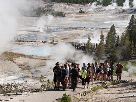 St. Kateri Students on the boardwalk in Yellowstone