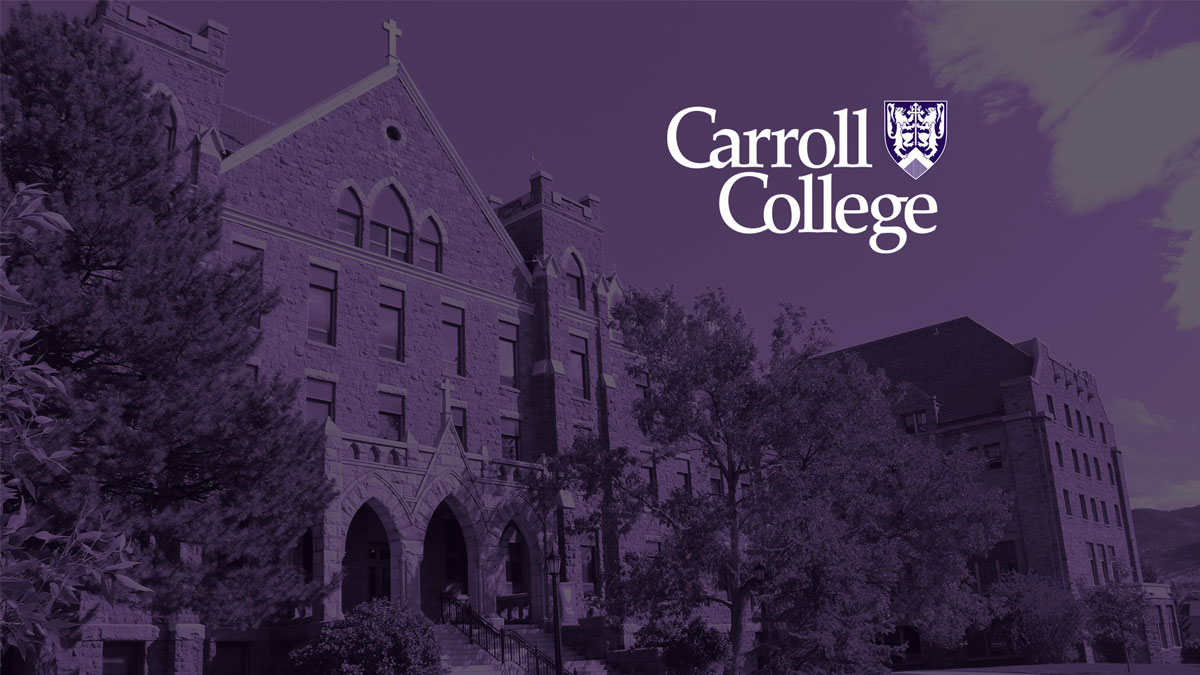 St. Charles Hall with a purple cast and Carroll College Logo