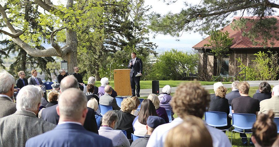 People Gather at the Chapel Groundbreaking, 2016