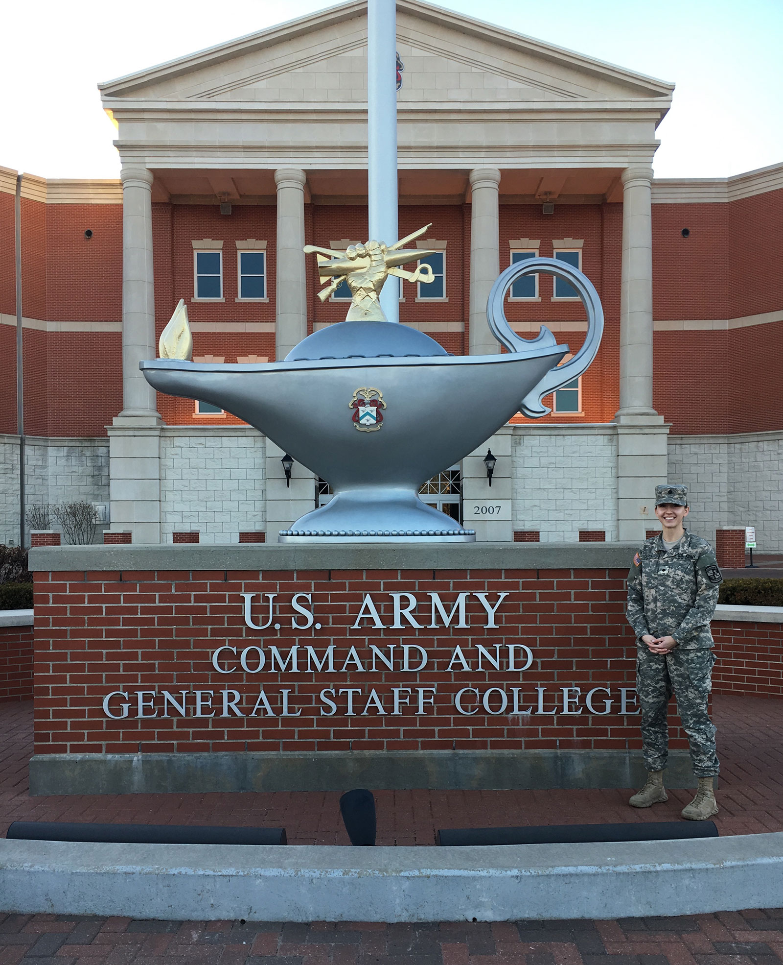 ROTC Student Jessica Bates Stands in front of the U. S. Army Command and General Staff College