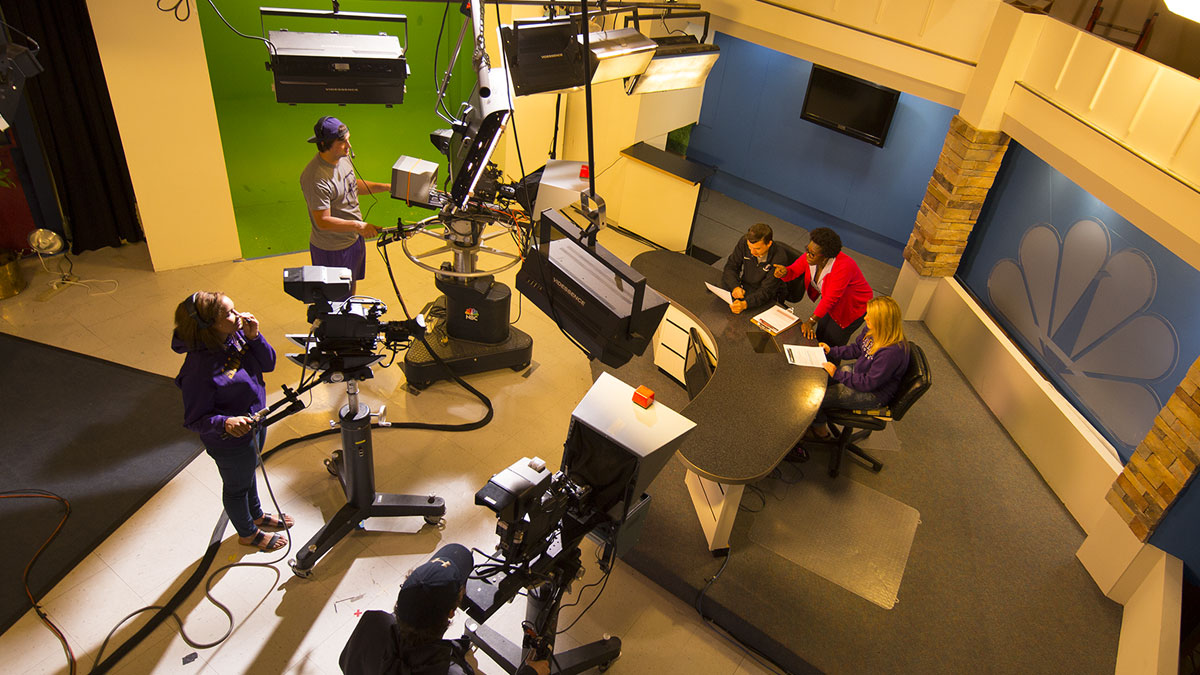 Students work with NBC staff in the NBC TV Studio