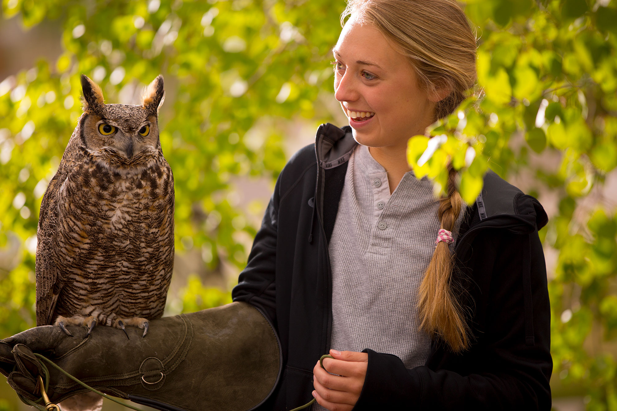 Image of Carroll Student with owl perched on arm