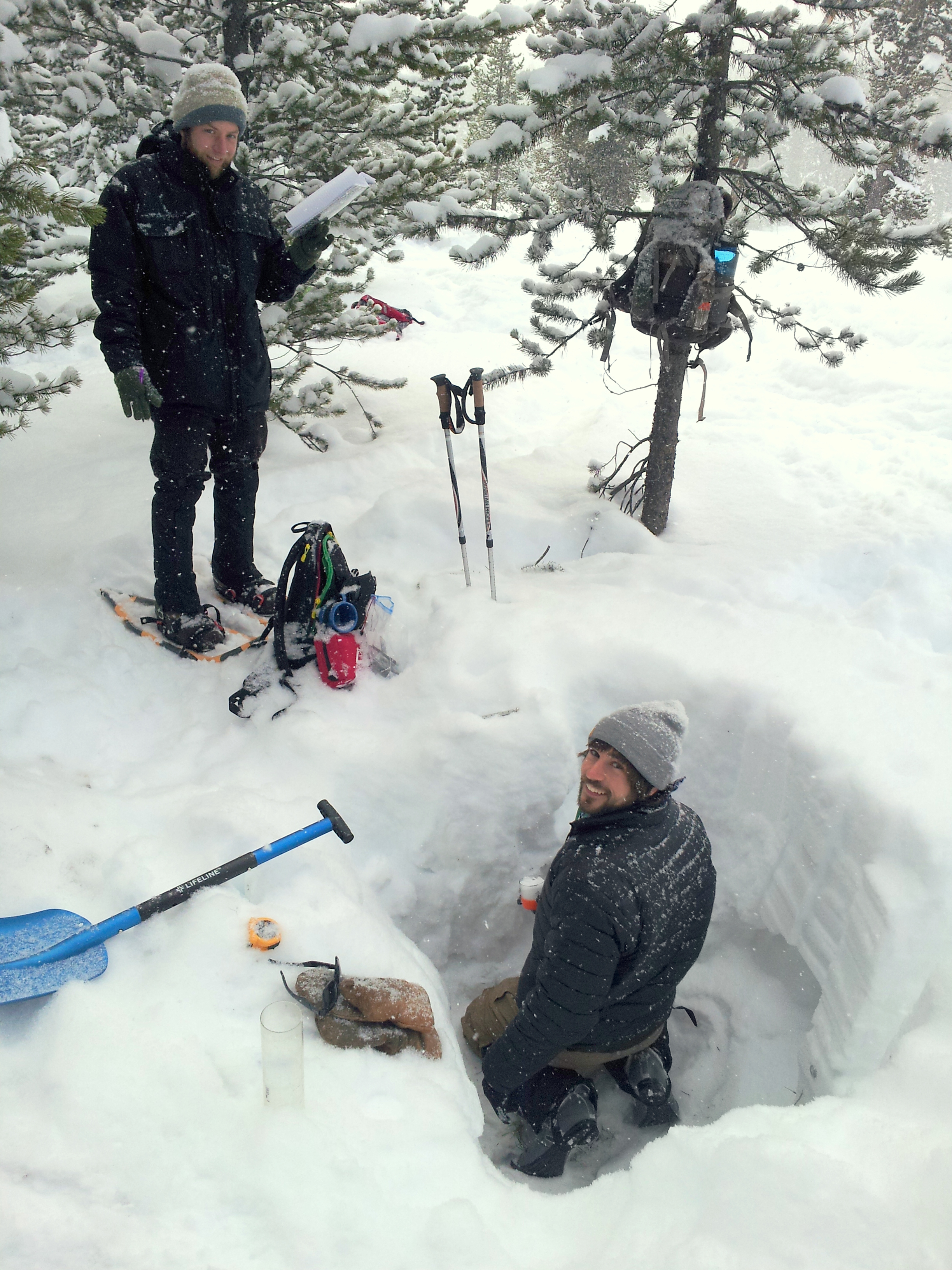 Digging Snow Pits for Water and Density Testing