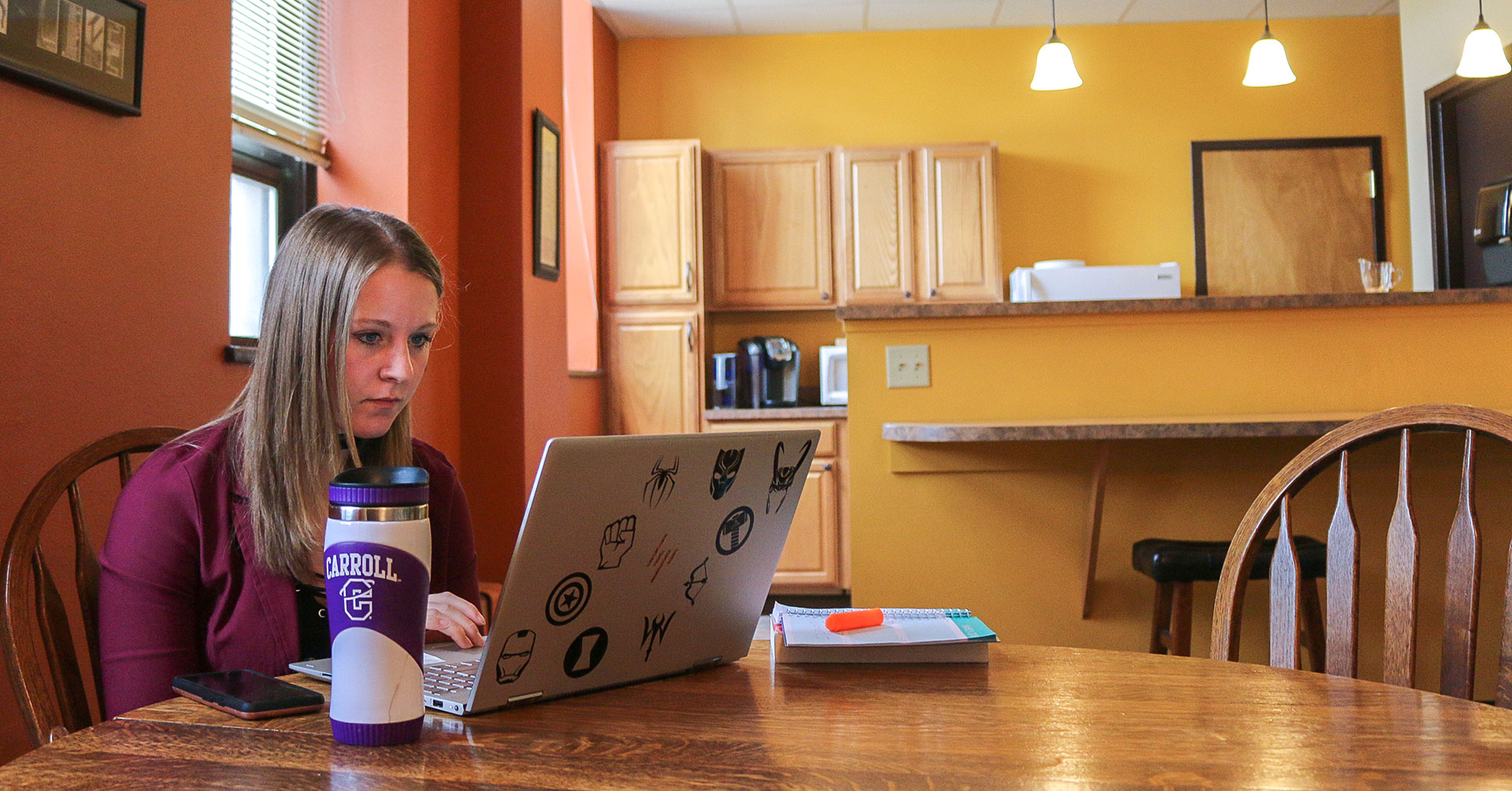 An Honors Scholar studies in the Honors Seminar Room in St. Charles Hall.