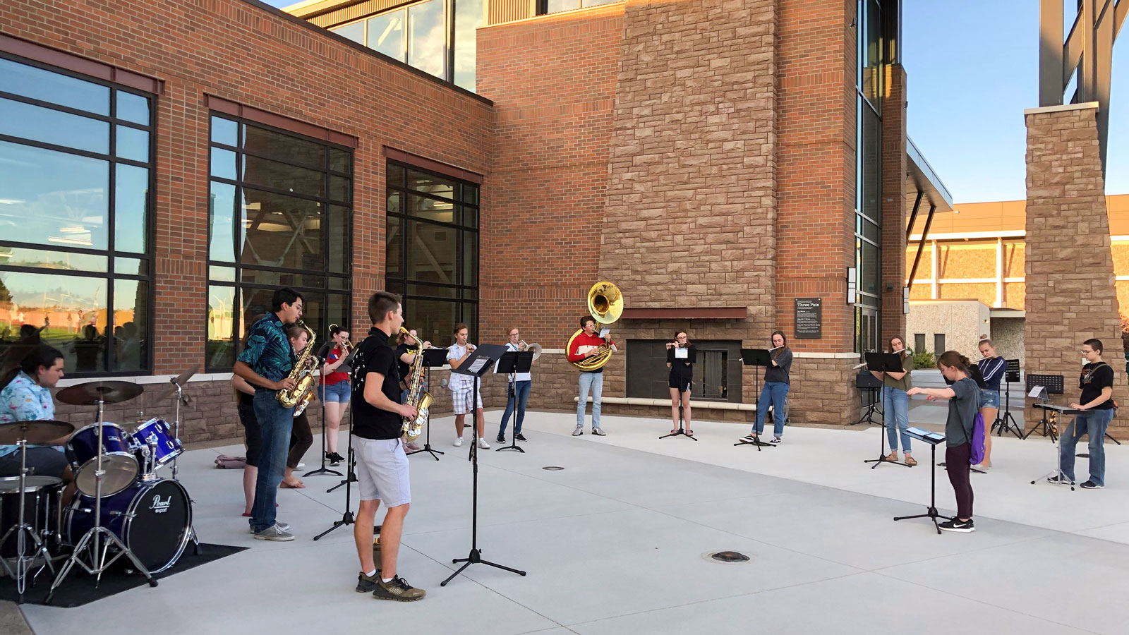 Pep Band photo outside the Hunthausen Activity Center
