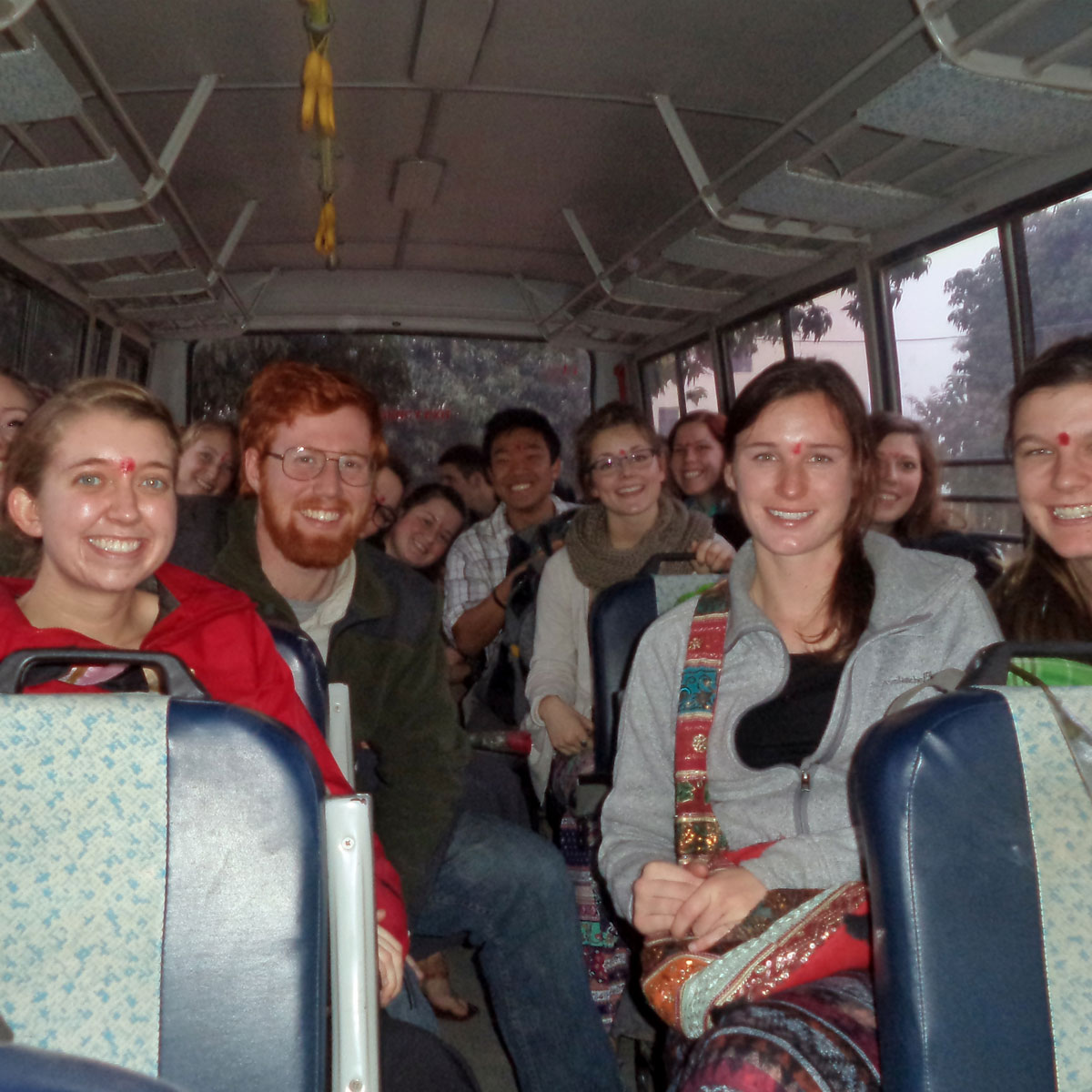 Nursing students on bus in India