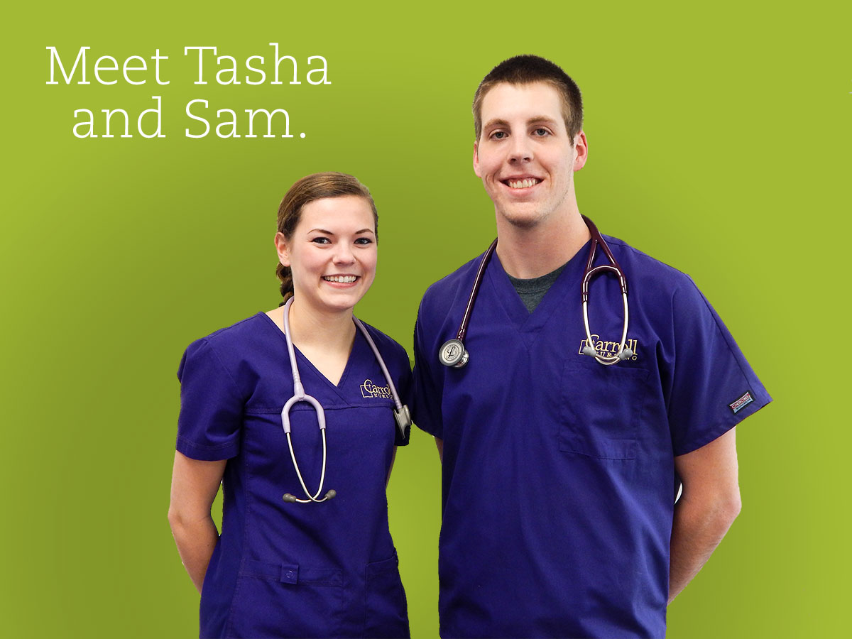 Tasha and Sam, Carroll College students in the Nursing program
