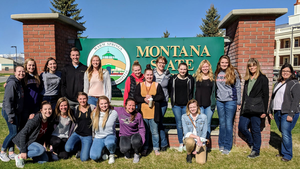 Photo of Carroll nursing students at the Montana State Hospital