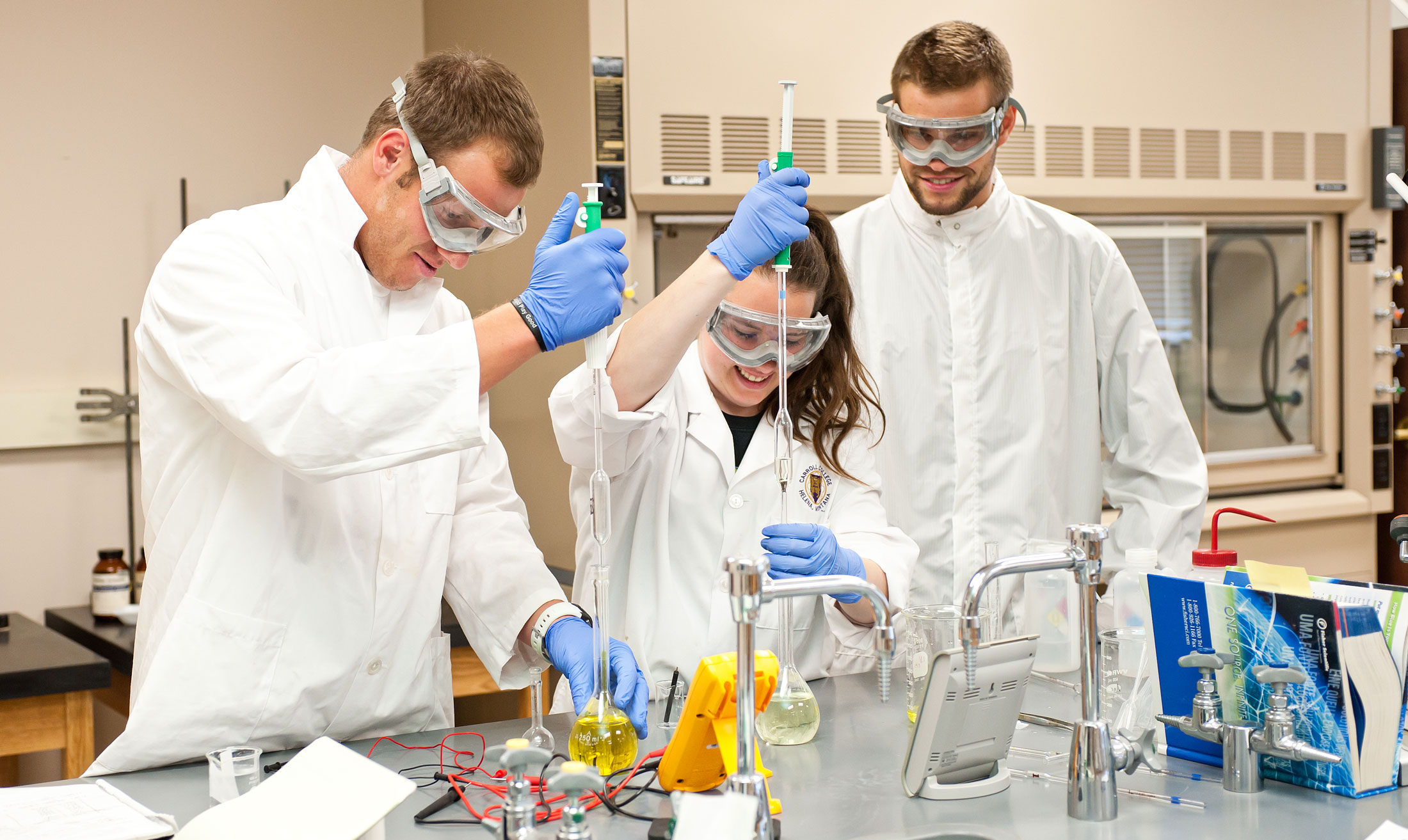 Pre-Pharmacy Students in a Lab