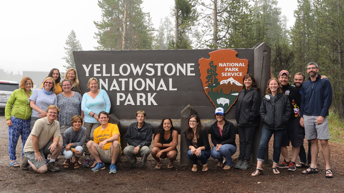 Photo of scholars at Yellowstone National Park
