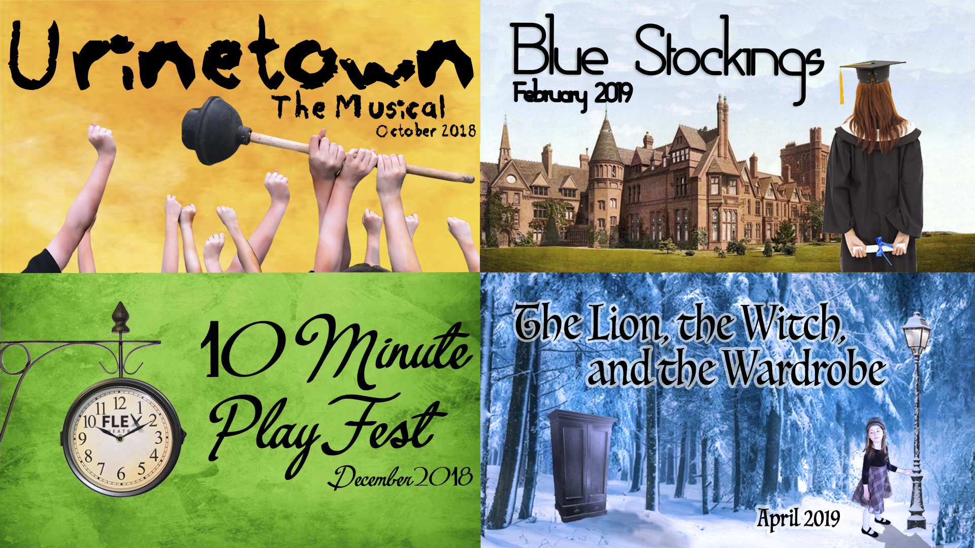Graphic of four 2018-2019 Carroll Theatre productions