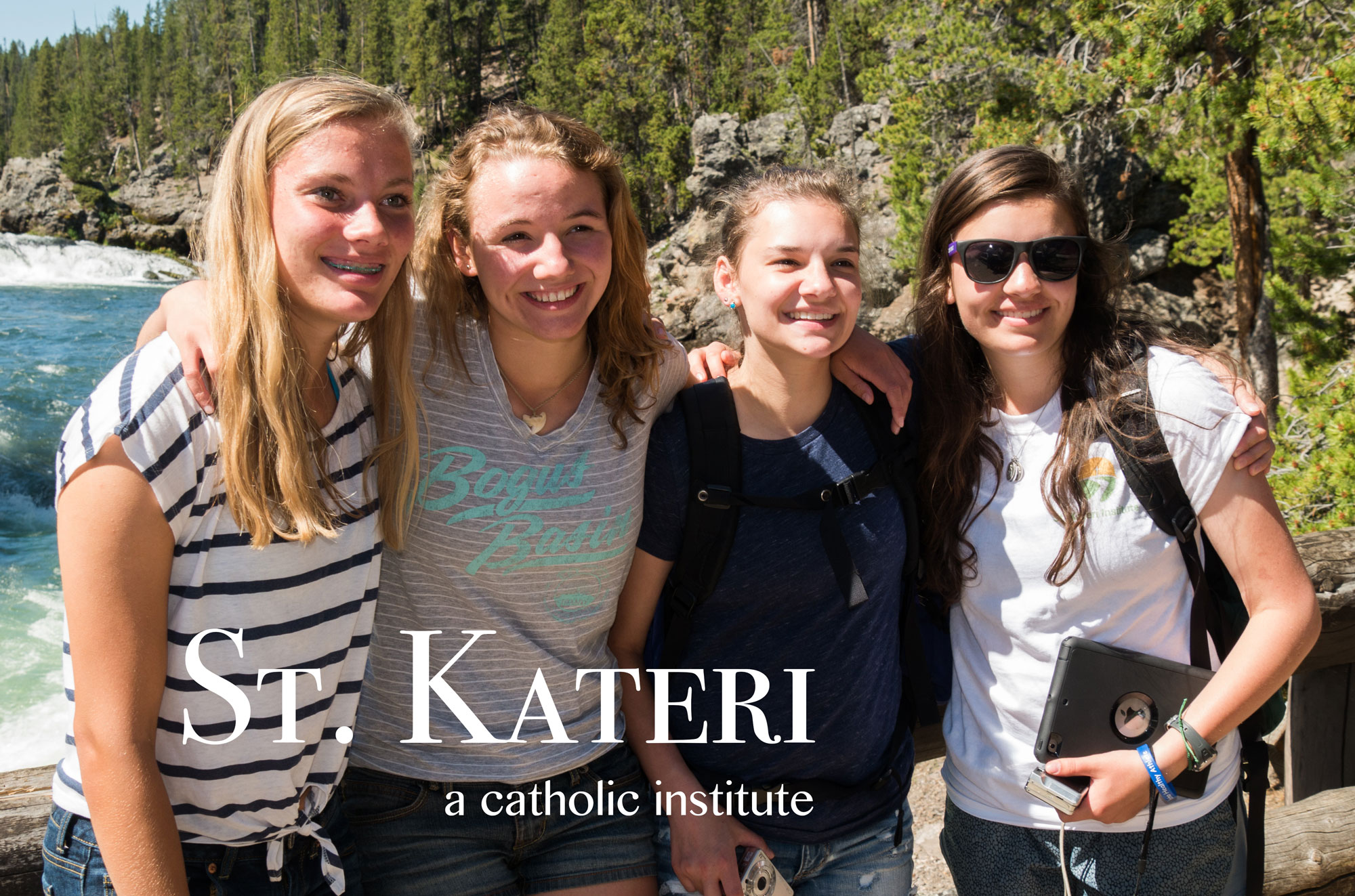 St. Kateri Institute for Integrative Learning - photograph of four females in Yellowstone National Park