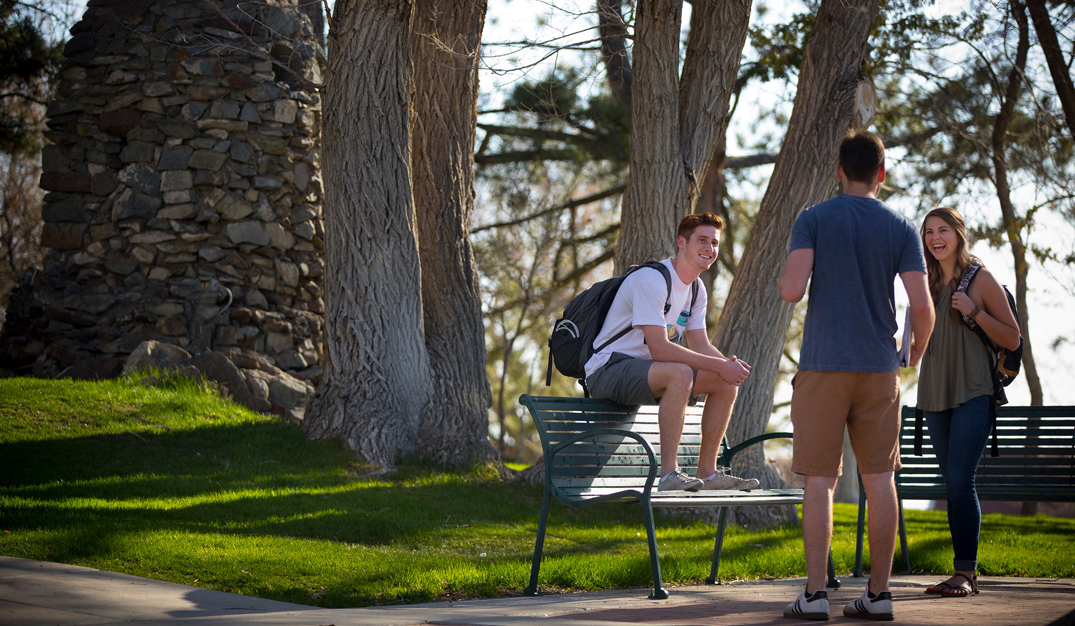 Photo of three students hanging out near St. Albert's grotto