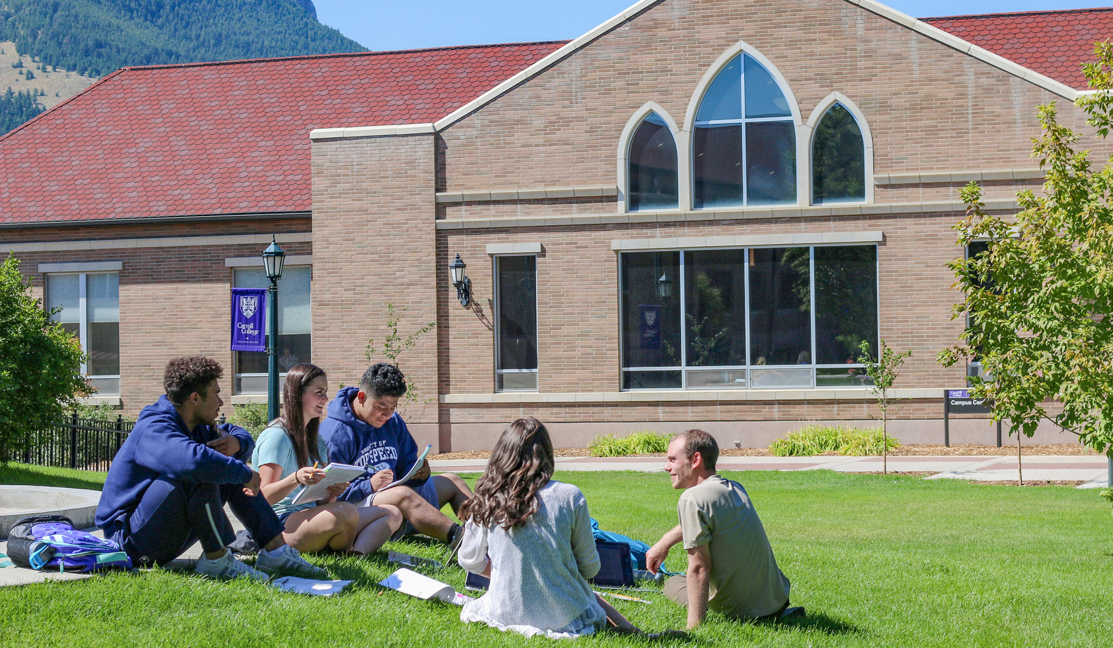 Study group of students in front of Campus Center