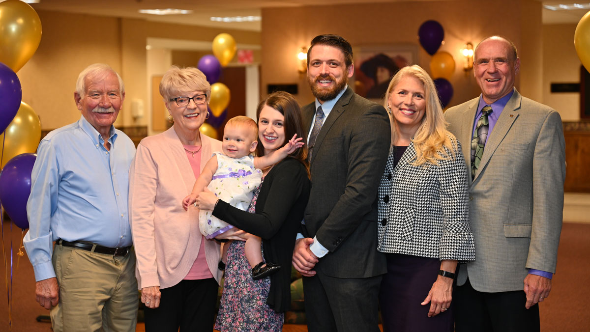 2019 Young Alumni Award Recipient Shane Van Diest , '10 and his family