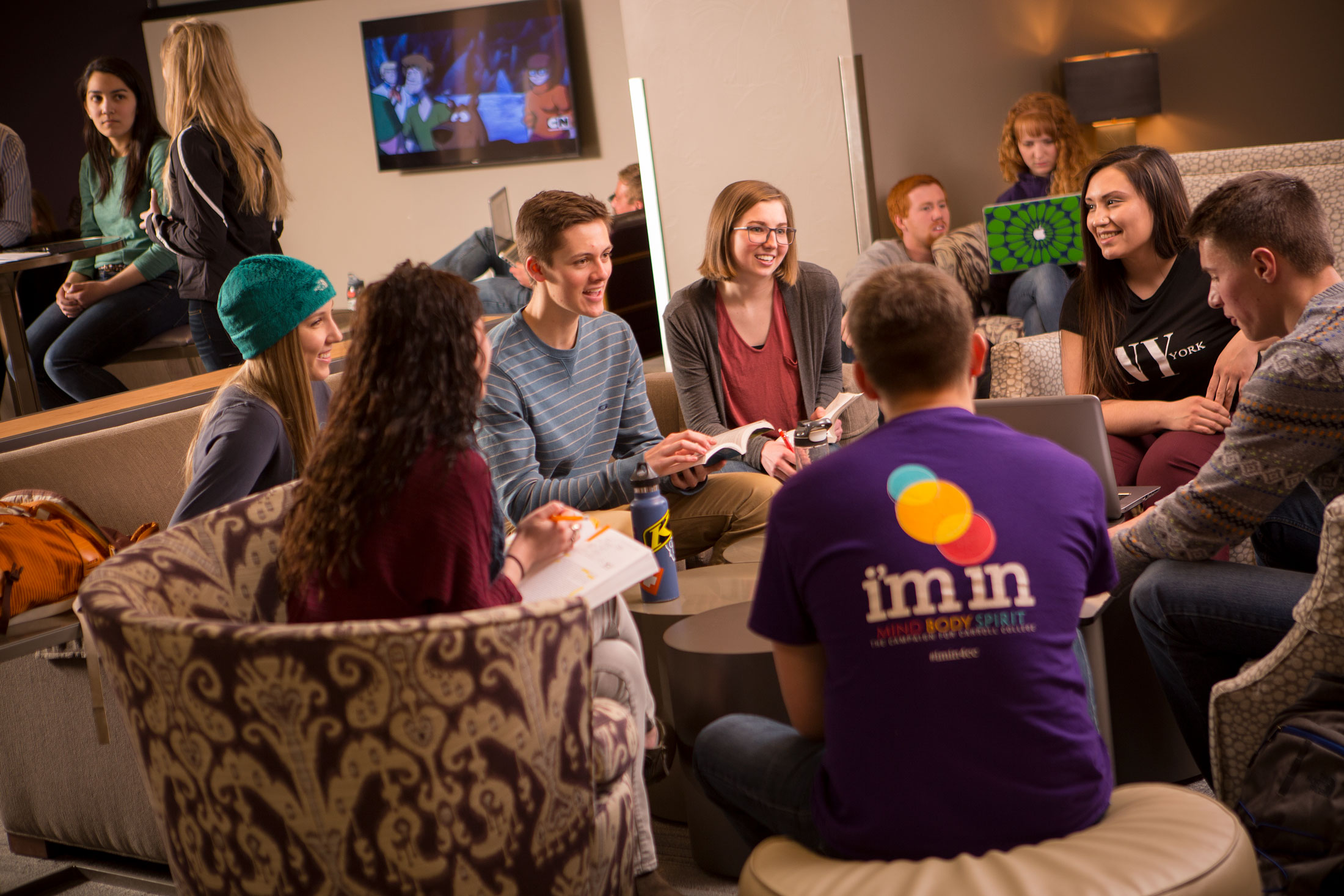 Students gathered in common area at Carroll College