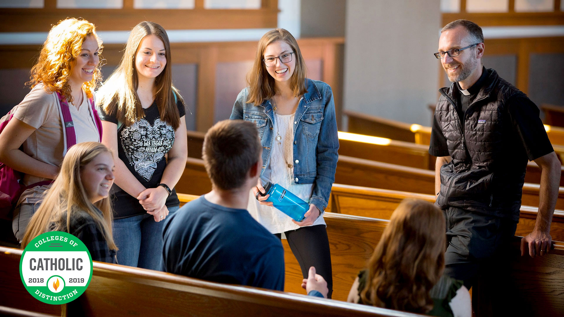 Students at small afternoon mass with Fr. Marc Lenneman