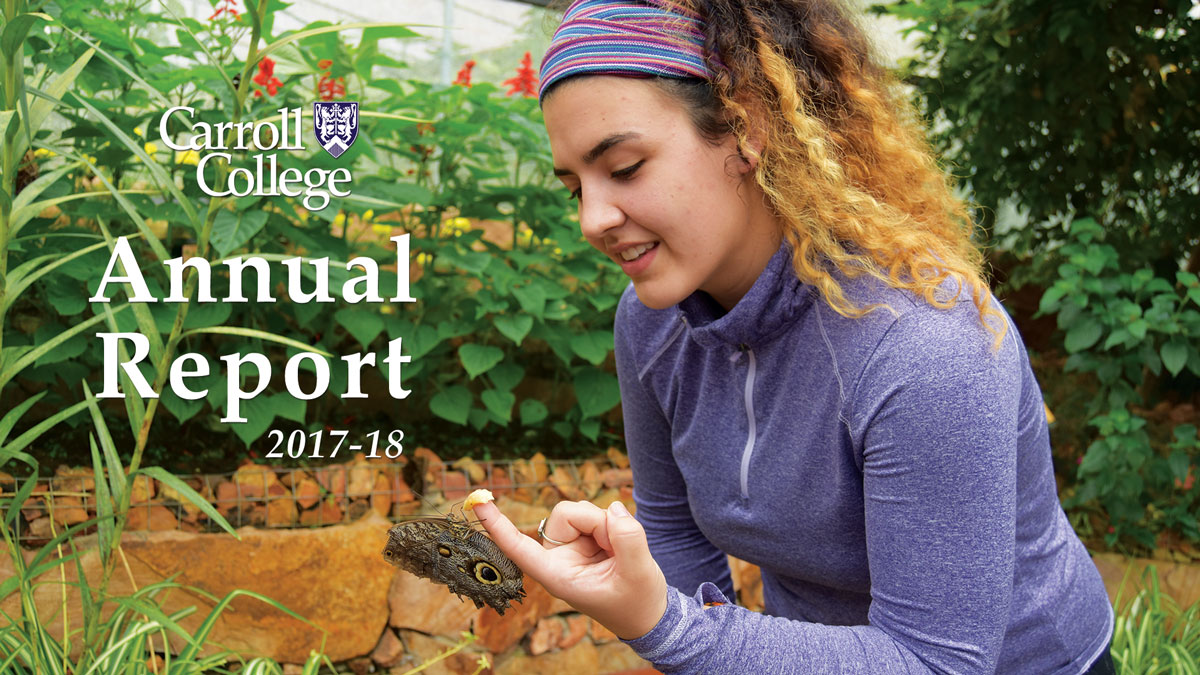 Annual Report - Photo of student with butterfly