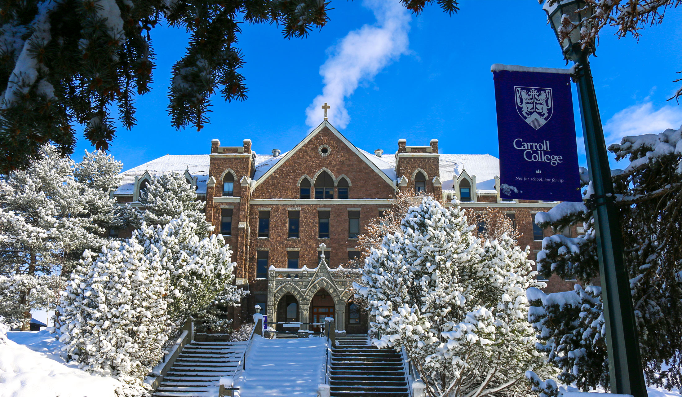 Winter photo of St. Charles on campus