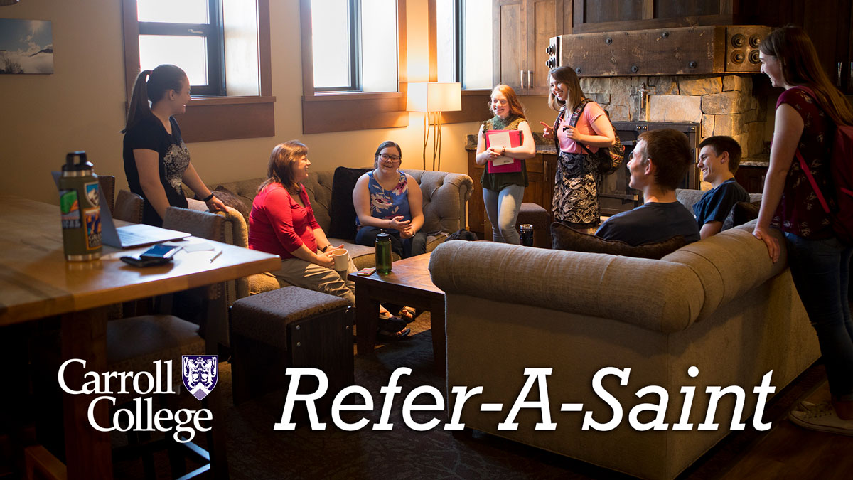 Students meeting in the All Saints Chapel lounge.