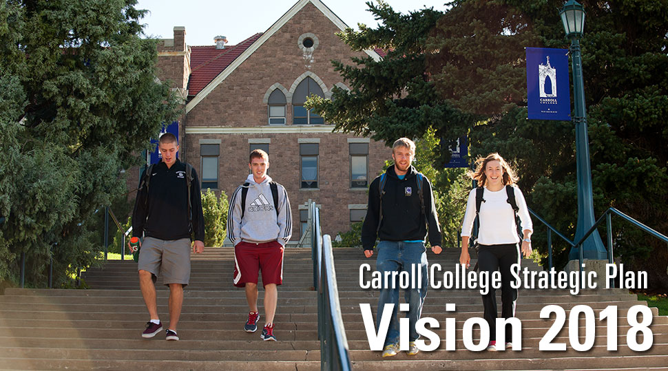 Carroll College Strategic Plan 2018 - Students walking down the stairs from St. Charles