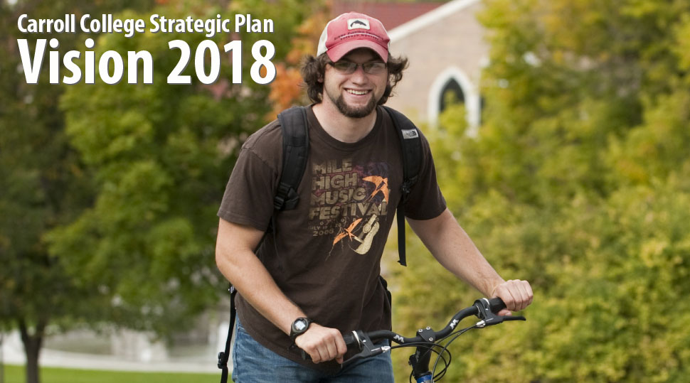 Carroll College Strategic Action Plan Vision 2018 - student on a bike