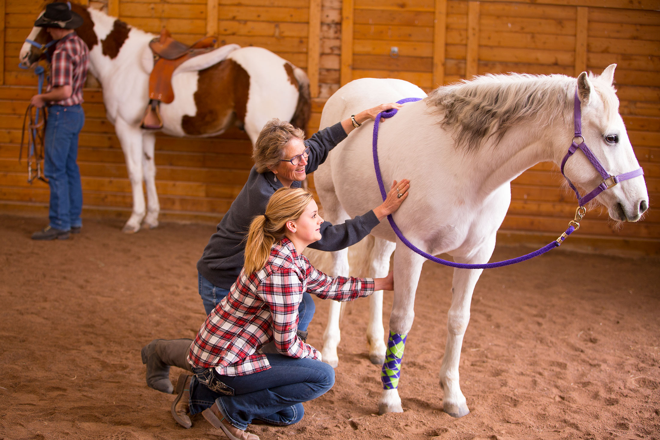 Maria Suthers and Hanna Roberts working with a horse