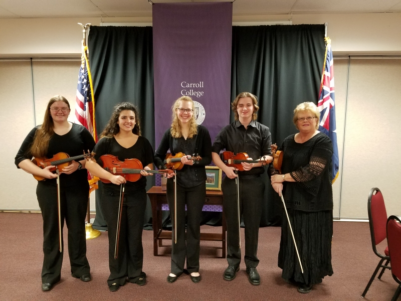 The Carroll College string Ensemble was invited to perform and serenade the Australian delegation for a special dinner at Carroll College down in the Cube. Beth Grabowski, Brianna Bivens, Elizabeth Hodgson, Sam Sampson, and director Linda Meuret