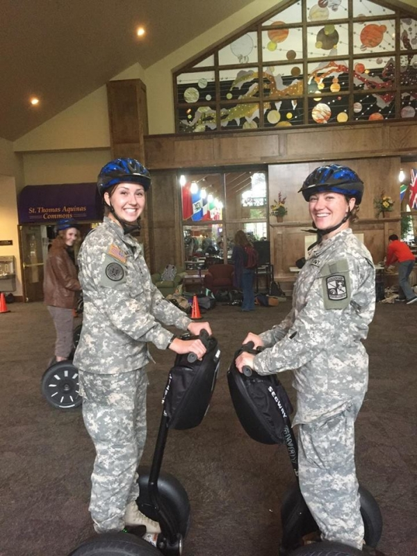 Cadets Bates and Olson trying out segways