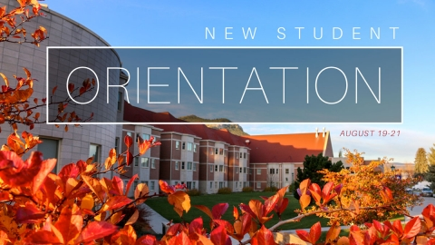 Graphic of Trinity Hall in the fall - New Student Orientation
