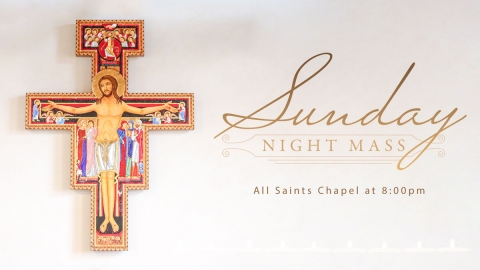 ornate image of Jesus on the crucifix - Sunday Night Mass - All Saints Chapel at 8:00pm