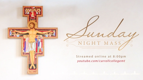 Ornate image of Jesus on the crucifix - Sunday Night Mass at 8:00pm