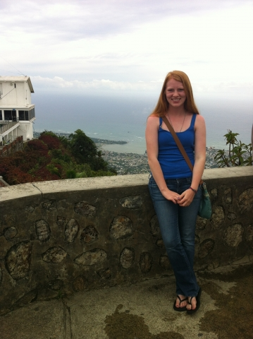 Snapshot of Elizabeth Morris with an ocean view in the background