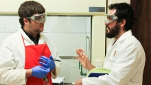 Dr. Rowley works with a student in the E.L.Wiegand Integrated Research and Learning Lab