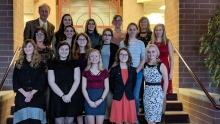 Group Photo of 16 High School Women for Computing Achievements