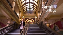 Carroll Students descends the steps inside of the Helena Capital