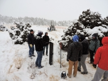Hydrogeology Students gather in the snowy outdoors to do field work