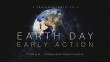 Earth Day Early Action graphic of the earth from space