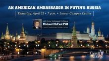 Michael McFaul, Former Ambassador to Russia speaking at Carroll graphic