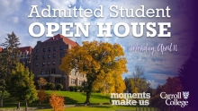 Graphic for Admitted Student Open House April 2018