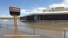 Rossiter Elementary School closes due to high floodwaters in the Helena Valley. Photo by Jesse Chaney, Helena Independent Record
