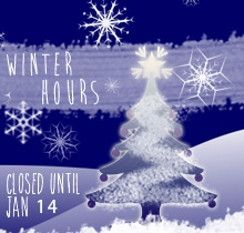 The library will be closed to the public from Dec 22 through January 14th.